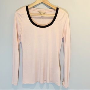 Banana Republic | Top with Faux Leather Trim